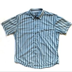 Kuhl Blue Striped Short Sleeve Button Up w/ Pocket